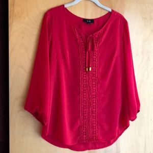 AGB red blouse with tie at neck